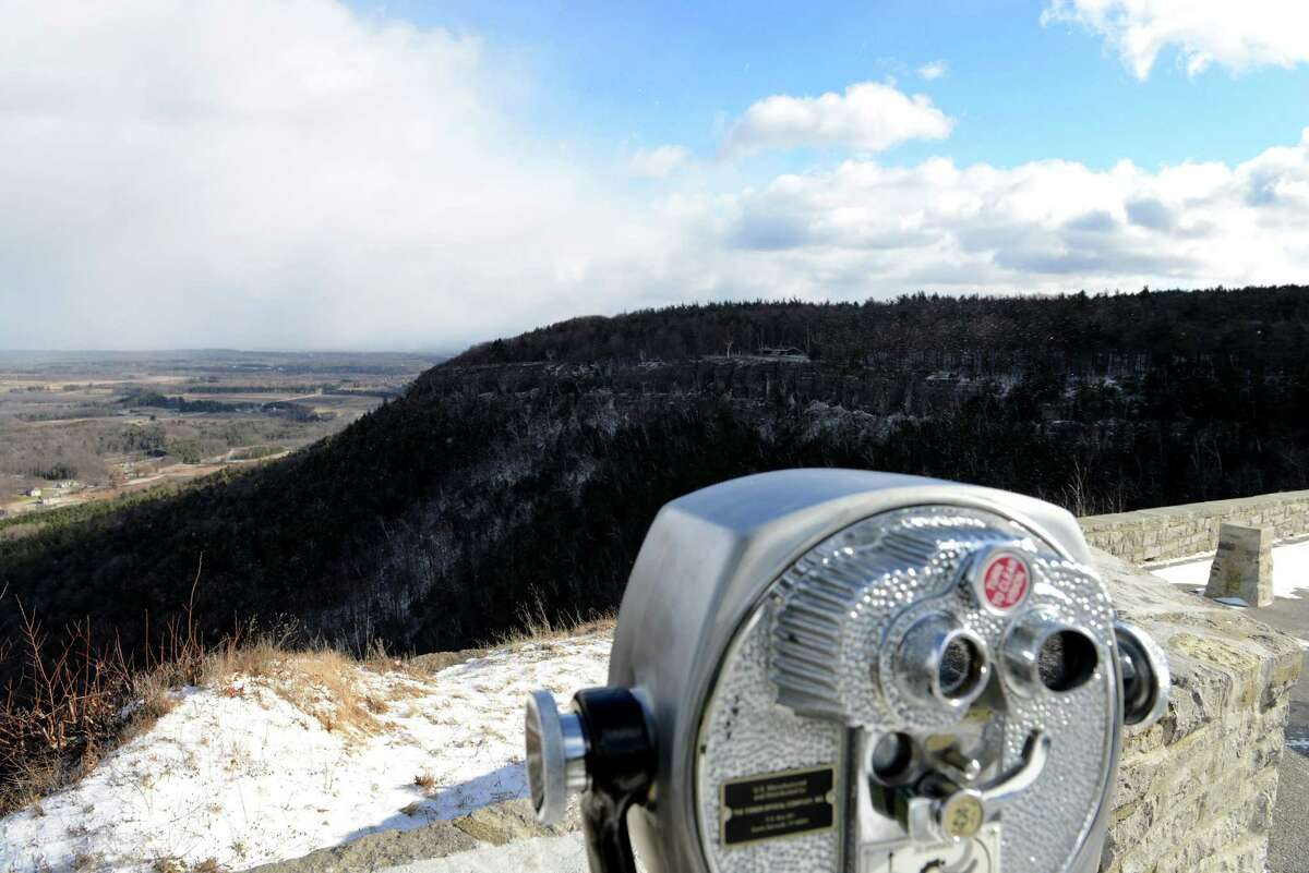 A mix of clear skies and light blowing snow are visible from the outlook at John Boyd Thacher State Park Monday afternoon, Jan. 18, 2016, in New Scotland, N.Y. (Will Waldron/Times Union)