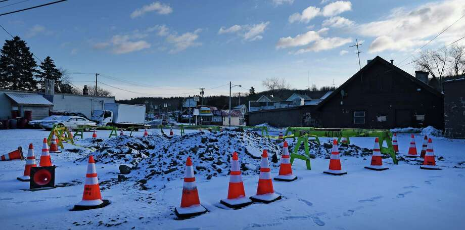 The site of Sunday's water main break at New Turnpike Road and Northern Drive Jan. 18, 2016 in Troy, N.Y.       (Skip Dickstein/Times Union) Photo: SKIP DICKSTEIN