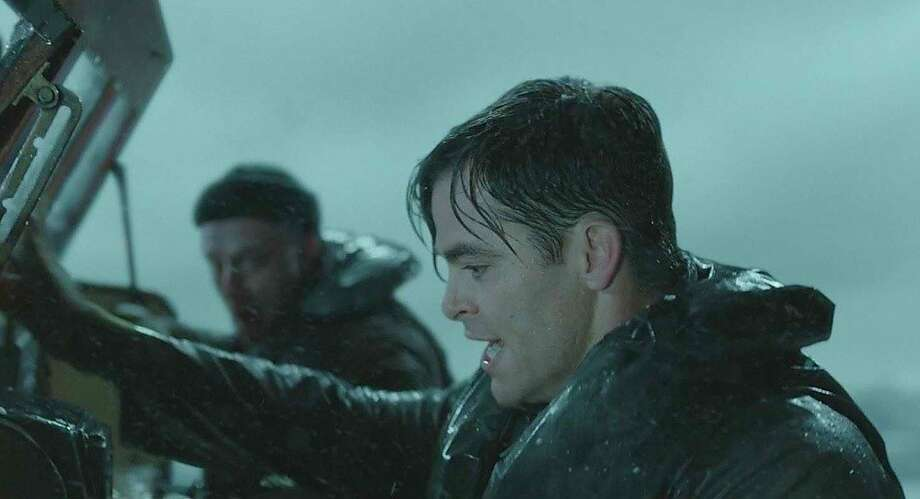"""Ben Foster as Richard Livesey (left) and Chris Pine as Bernie Webber in """"Finest Hours,"""" the skillfully executed real-life drama about a terrifying Coast Guard rescue of a ship's crew. Photo: Walt Disney Studios Motion Pictu"""