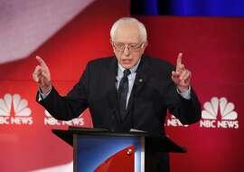 Democratic presidential candidate, Sen. Bernie Sanders, I-Vt., speaks at the NBC, YouTube Democratic presidential debate at the Gaillard Center, Sunday, Jan. 17, 2016, in Charleston, S.C. (AP Photo/Mic Smith)