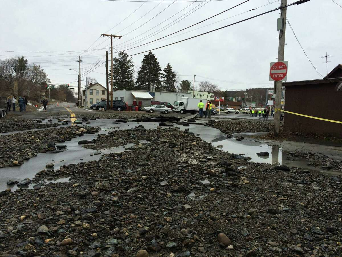 Massive damage on Northern Drive after a water main break on Jan. 17, 2016 in Lansingburgh in Troy. (Lauren Stanforth)