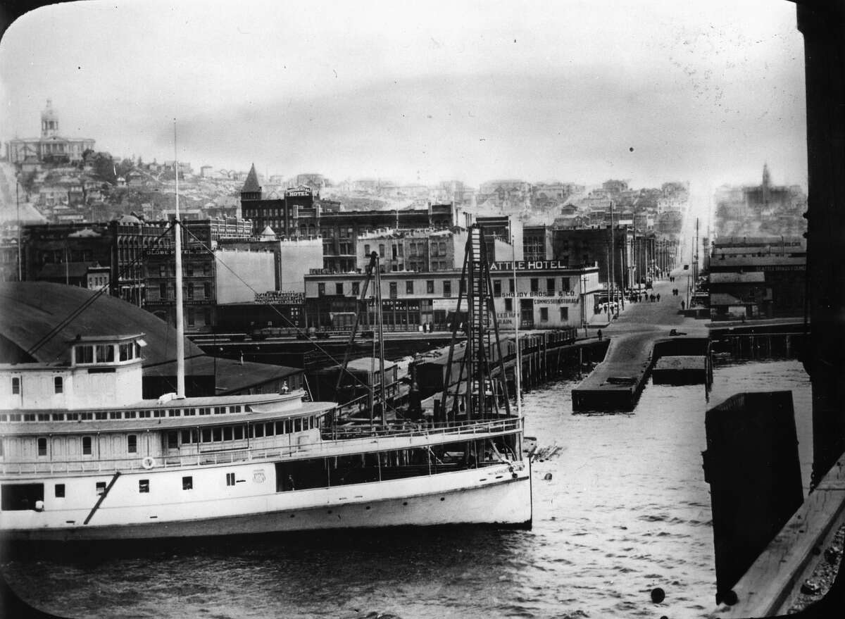 Pioneer Square and the Seattle central waterfront, as seen in 1896.
