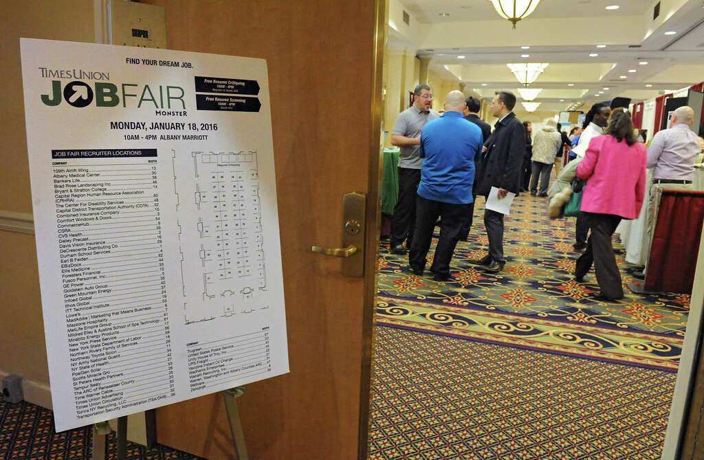 Job Seekers Talk To Recruiters During The Times Union Job Fair At The  Albany Marriott Hotel