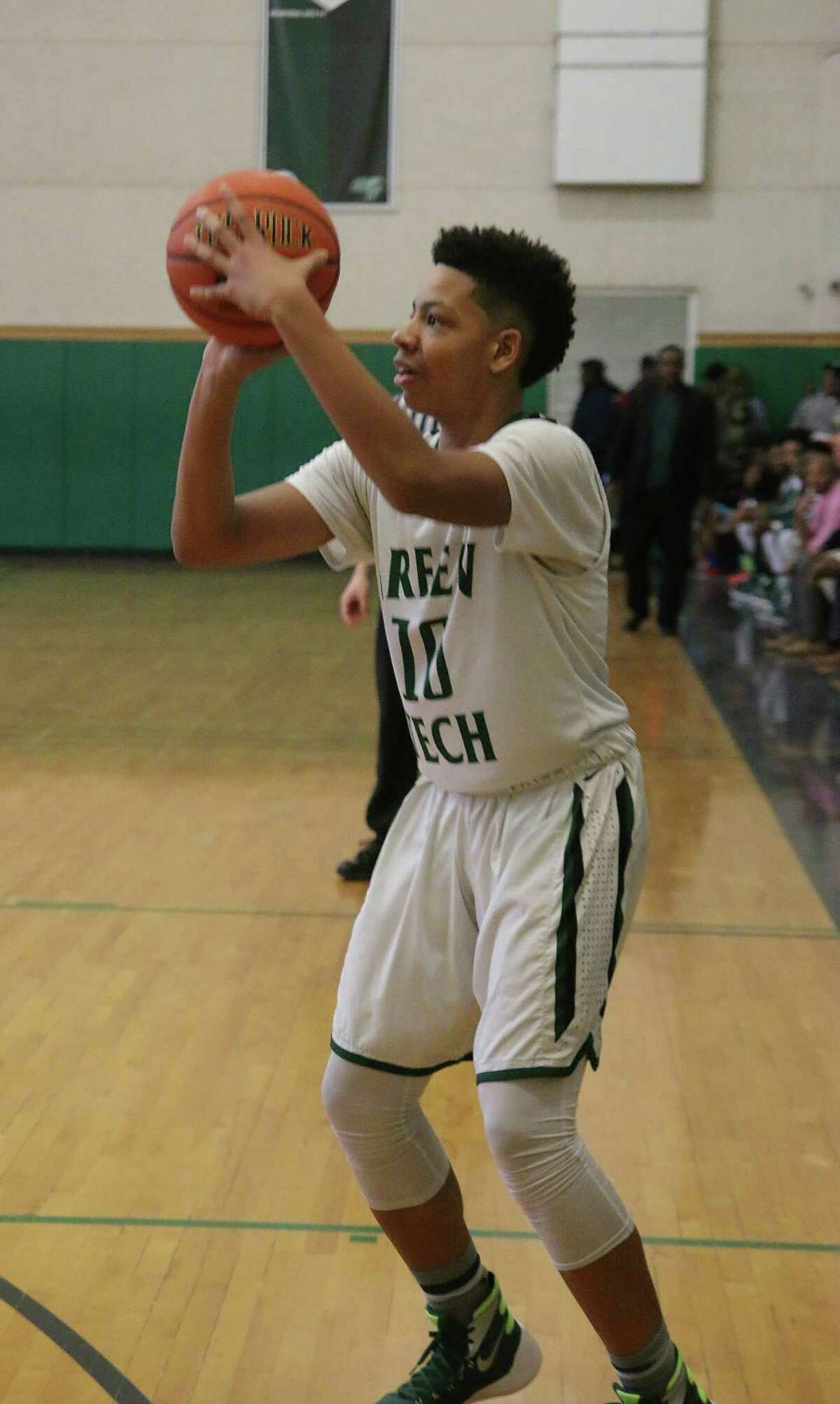 Green Tech's Derrick Rowland shoots for three during Monday's basketball matchup against Middletown at Green Tech High Charter School in Albany January 18, 2016. (Ed Burke / Special to the Times Union)