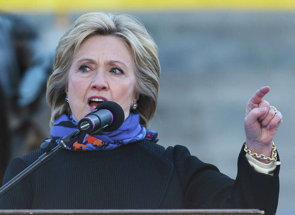 Democratic presidential candidate Hillary Clinton speaks during the King Day at the Dome event celebrating the life of Martin Luther King Jr., Monday, Jan. 18, 2016, in Columbia, S.C. (AP Photo/Rainier Ehrhardt) ORG XMIT: SCRE104