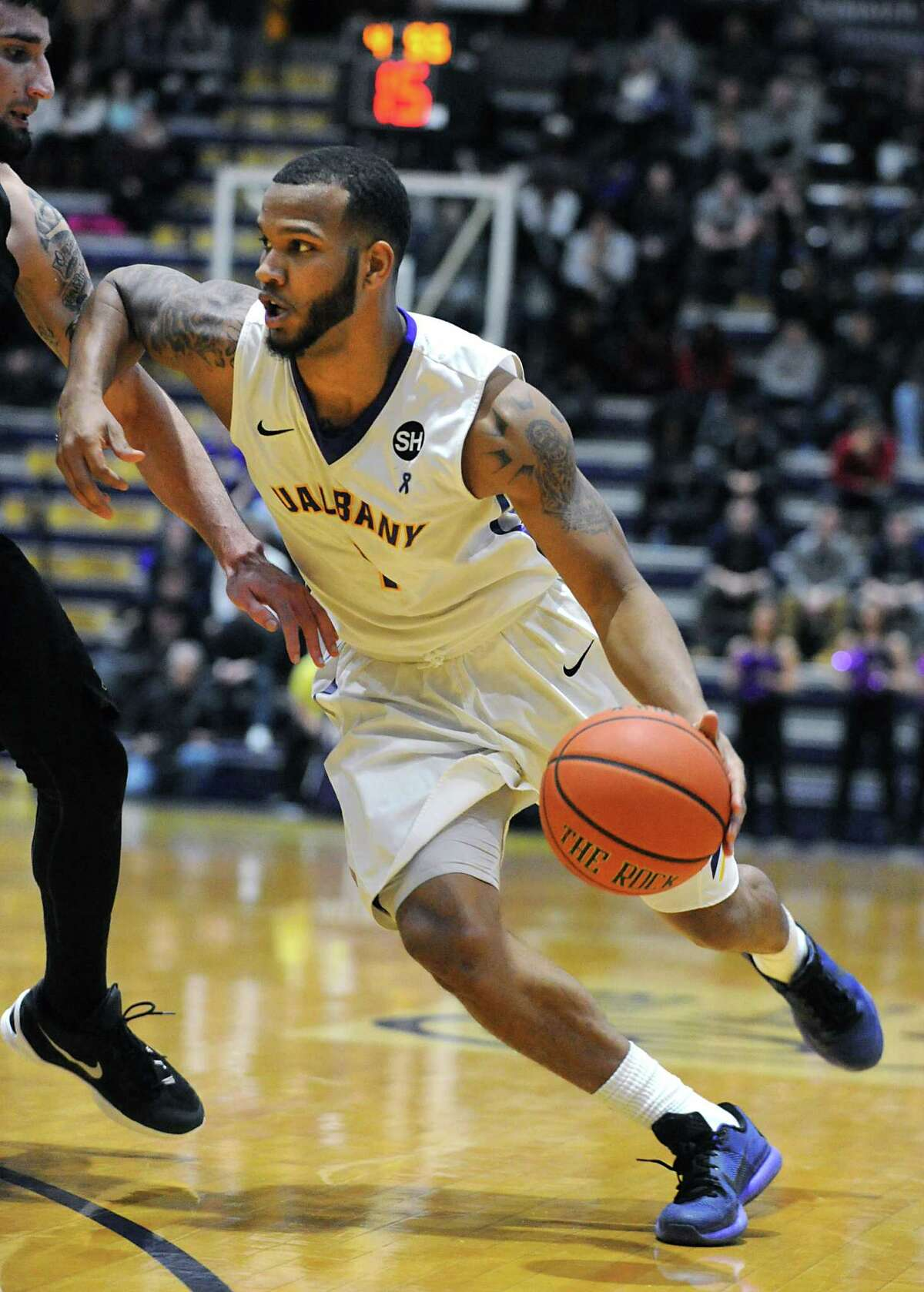 UAlbany's Marlon Beck makes a move to the basket during an America East Conference basketball game against Binghamton at the SEFCU Arena on Monday, Jan. 18, 2016 in Albany, N.Y. (Lori Van Buren / Times Union)
