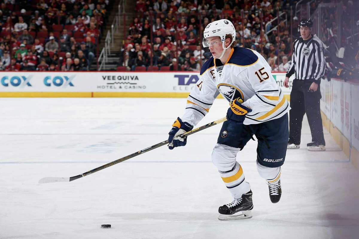 GLENDALE, AZ - JANUARY 18: Jack Eichel #15 of the Buffalo Sabres skates with the puck during the second period of the NHL game against the Arizona Coyotes at Gila River Arena on January 18, 2016 in Glendale, Arizona. (Photo by Christian Petersen/Getty Images) ORG XMIT: 574714111