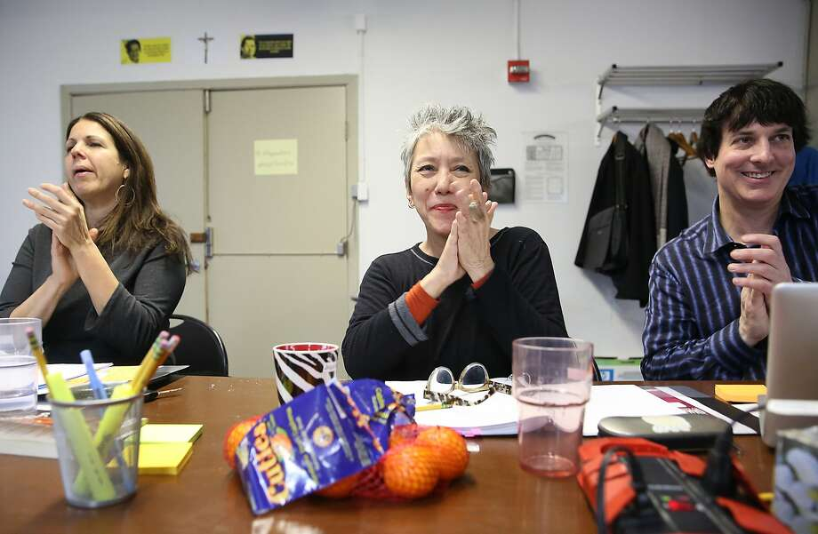 "Director Loretta Greco (left), playwright Jessica Hagedorn (middle)  and stage manager Kevin Johnson (right) seen during a rehearsal of ""Dogeaters"" at Fort Mason in San Francisco, California, on Thursday,  January 14, 2016.  ÒDogeatersÓ has its San Francisco premiere at the Magic Theatre at Fort Mason next month. Photo: Liz Hafalia, The Chronicle"
