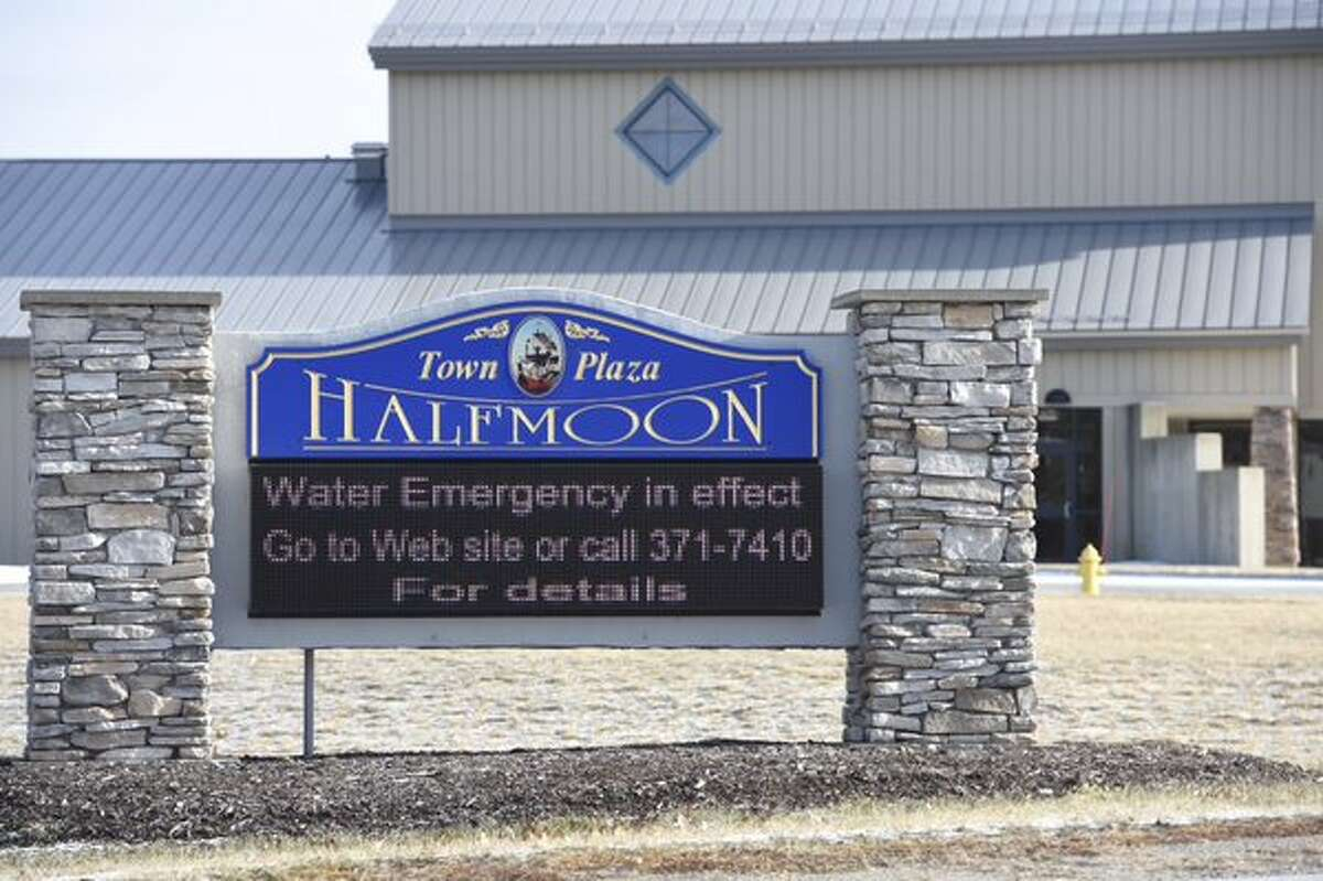 A sign outside of Town Hall in Halfmoon makes clear the water problems the town is dealing with as it faces a loss of water pressure caused by a water-main break Sunday in Troy, which supplies water to Halfmoon and several other surrounding communities. (Skip Dickstein / Times Union)