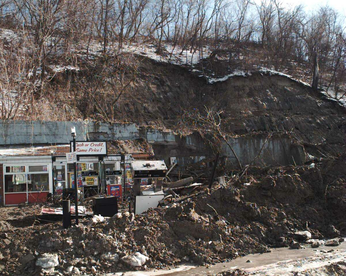 Scene of a fatal Broadway mudslide on Saturday, Jan. 20, 1996, in Schenectady, N.Y. A man was killed when the hillside adjacent to I-890 collapsed following heavy rains and a big snow melt. (Luanne M. Farris/Times Union archive)