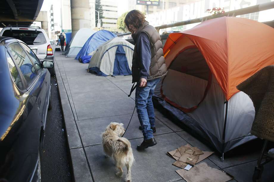 Chris (who declined to give her last name) walks past tents set up along 13th  Street as she walks her dog Taxie on Friday, January 15, 2016 in San Francisco, Calif. Photo: Lea Suzuki, The Chronicle