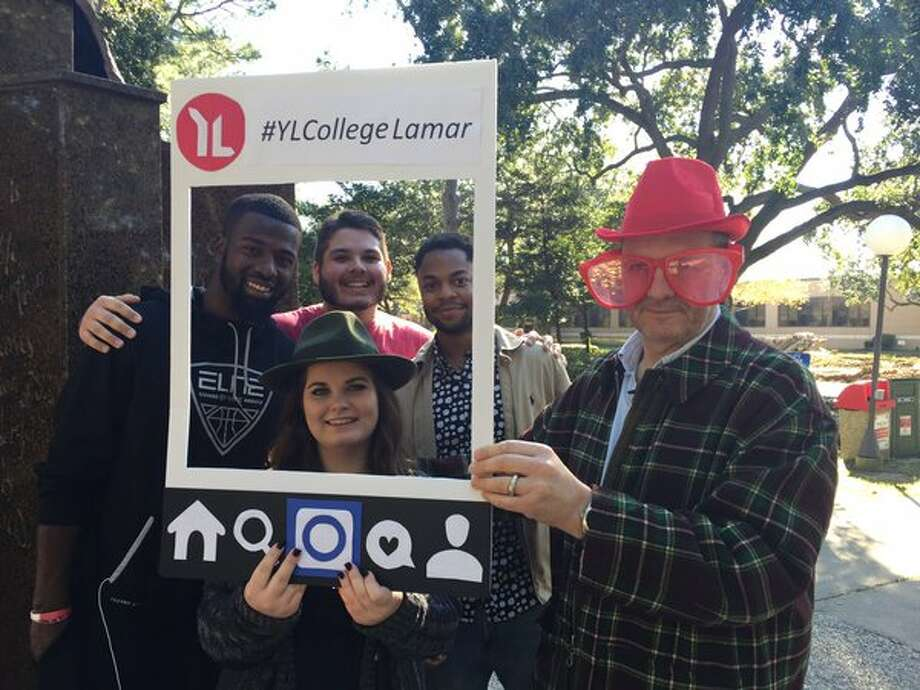 John Cumberland poses with Lamar University students during his visit to Beaumont on Jan. 18, 2016. Cumberland flew to Florida from England, then drove to Texas to visit the Big Bopper's hometown. Cumberland will eventually drive to Cleveland, Ohio, the location of the Rock and Roll Hall of Fame Museum. Photo @bopperdoc on Twitter. Photo: Twitter