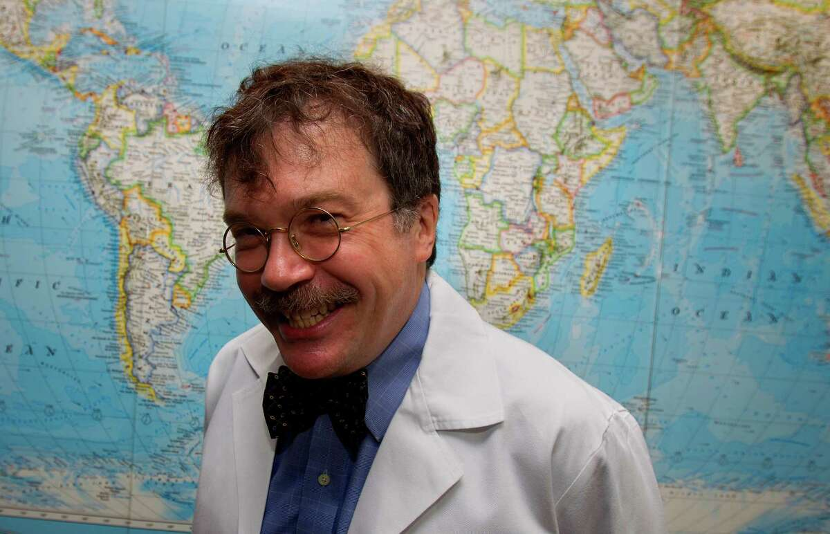 """Dr. Peter Hotez is seen at the Texas Medical Center after taking leadership positions at Baylor College of Medicine and Texas Children's Hospital Wednesday, June 8, 2011, in Houston. He will serve as the dean of the new school of tropical medicine, the director of the vaccine development program, and he will hold the Texas Children's Hospital Endowed Chair in Tropical Pediatrics. He will also serve as chief of a new Section of Tropical Diseases in the BCM Department of Pediatrics. """"Dr. Peter Hotez is a one-of-a-kind pediatric physician-scientist, and he represents the kind of transformative talent we are attracting to Texas Children's Hospital and Baylor College of Medicine from around the nation and globe,"""" said Dr. Mark W. Kline, physician-in-chief at TCH and chair of pediatrics at BCM. ( Cody Duty / Houston Chronicle )"""