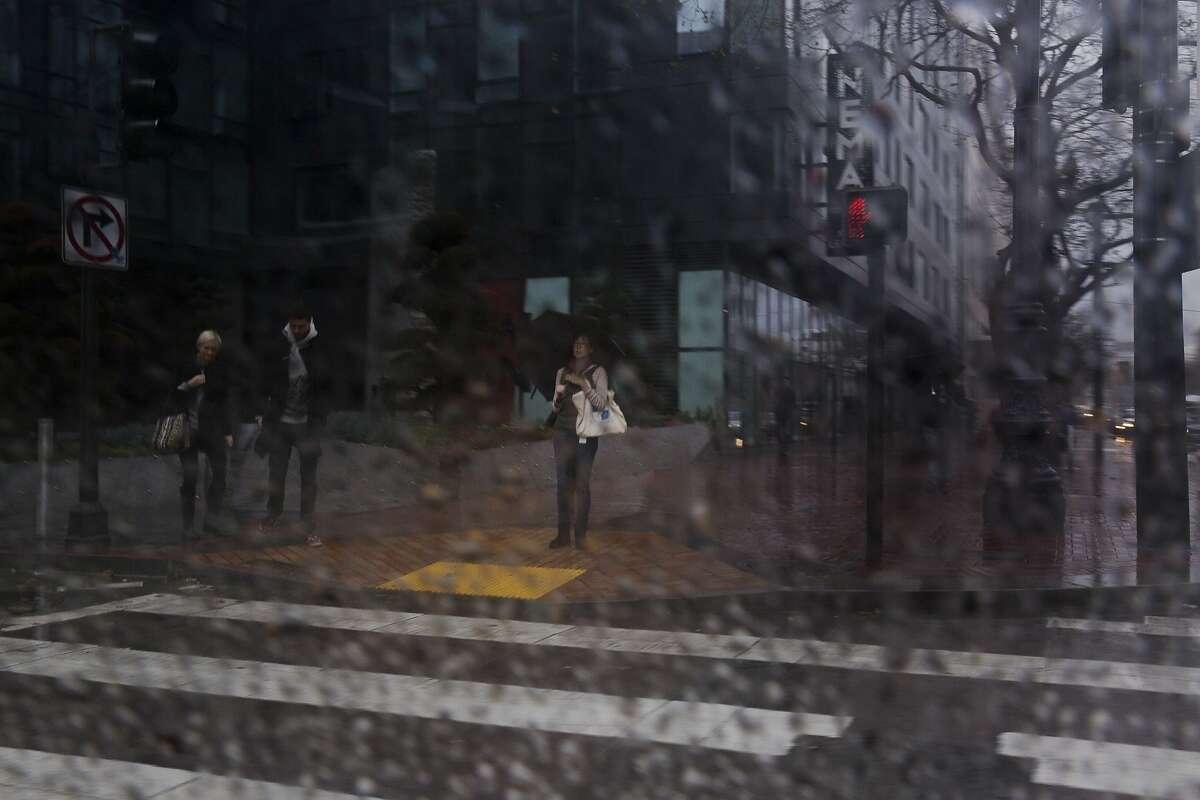 Rain drenches San Francisco on January 19, 2016.