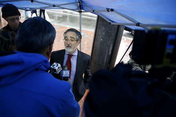 San Francisco Supervisor Aaron Peskin speaks to the media at a press conference on Market Street in San Francisco, California, on Tuesday, Jan. 19, 2016.