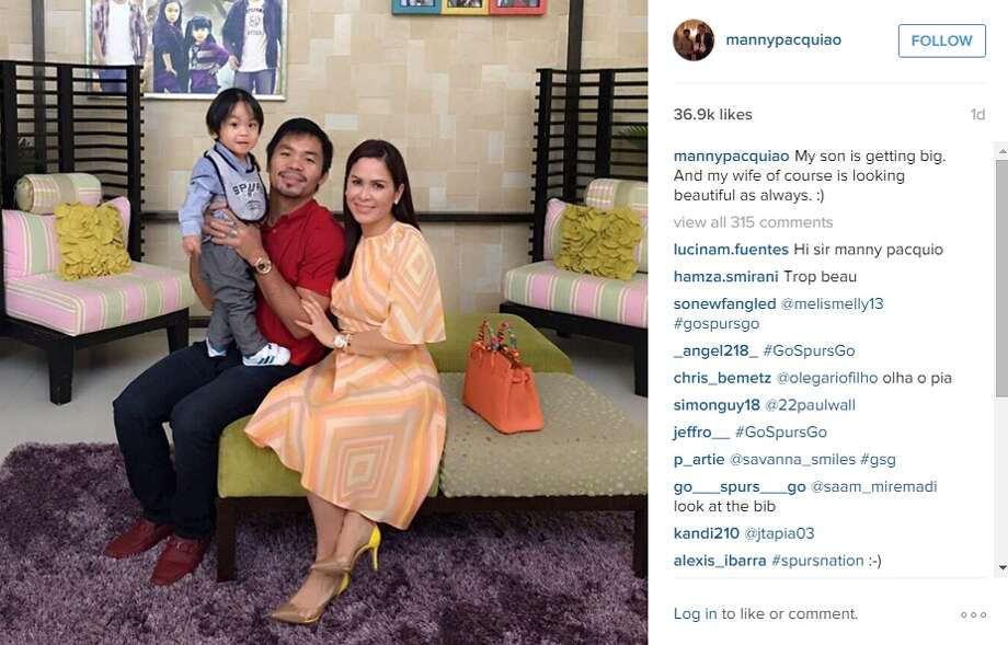 Add another celebrity family to the list of Spurs fans, Manny Pacquiao and his clan apparently back the Silver and Black.
