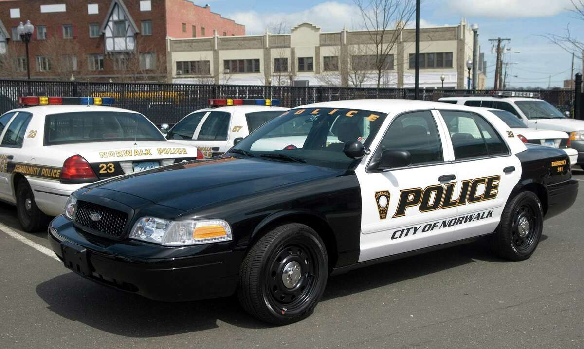 A Norwalk Police Department Ford Crown Victoria patrol car on display at police headquarters in Norwalk, Conn. on Thursday, April 19, 2007.