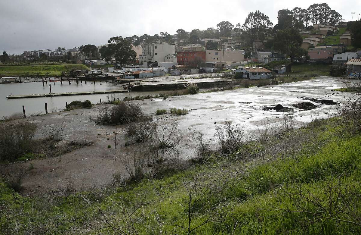 An abandoned pier is seen from India Basin Shoreline park in San Francisco, Calif. on Tuesday, Jan. 19, 2016. A design competition is planned to redo the park and develop the adjacent dilapidated pier and cove.