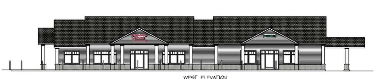 Rendering of Stewart's Shops and Pioneer Bank's new building in downtown Watervliet.