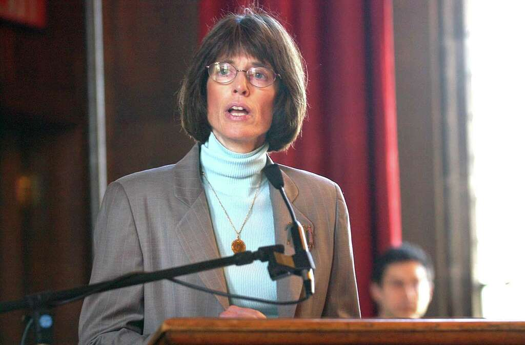 Emma Willard Head of School Trudy Hall addresses students during an announcement for a $16.5 million gift from alumna Helen Snell Cheel to the school in April 2005 (Steve Jacobs/Times Union archive)