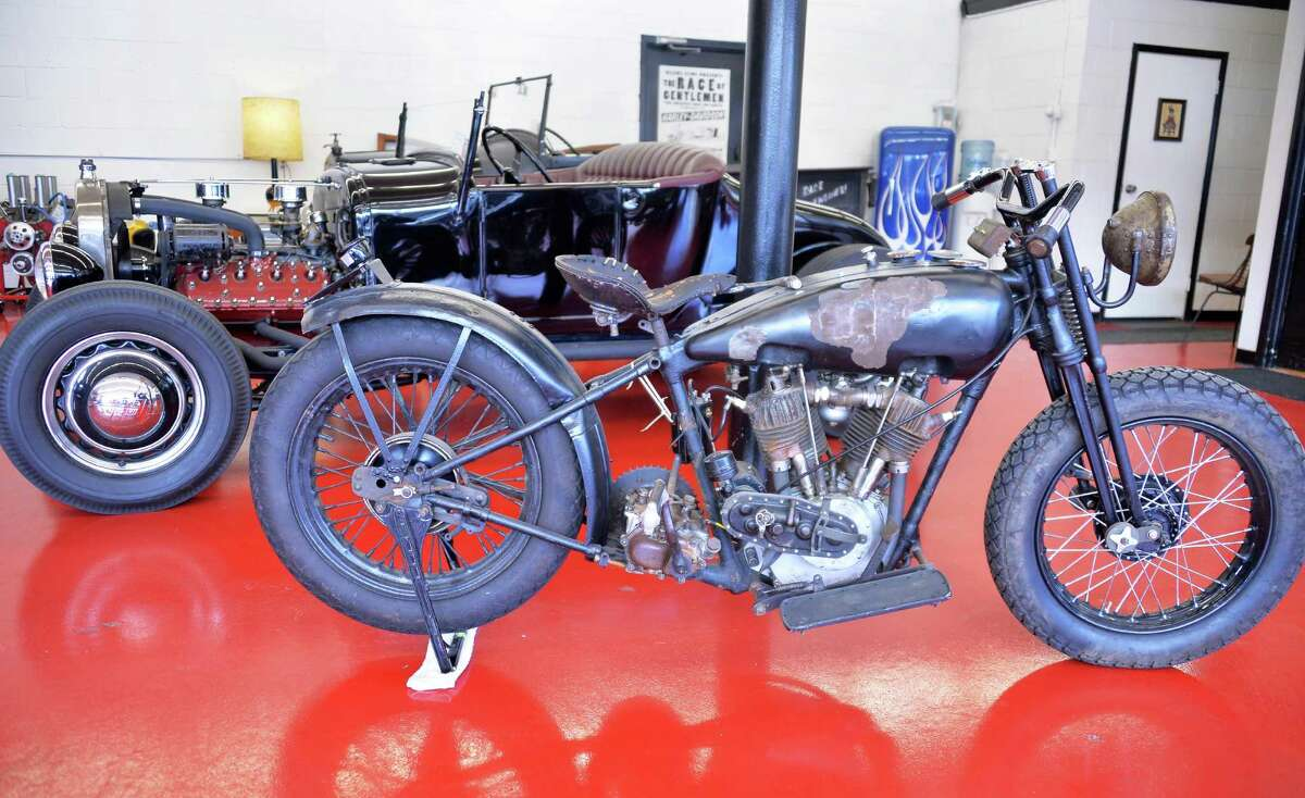 A 1927 Model T hot rod, top, and a 1927 Harley Davidson JD motorcycle at Jeremy Baye's 1945 Speed and Custom Shop Tuesday Jan. 19, 2016 in Troy, NY. (John Carl D'Annibale / Times Union)