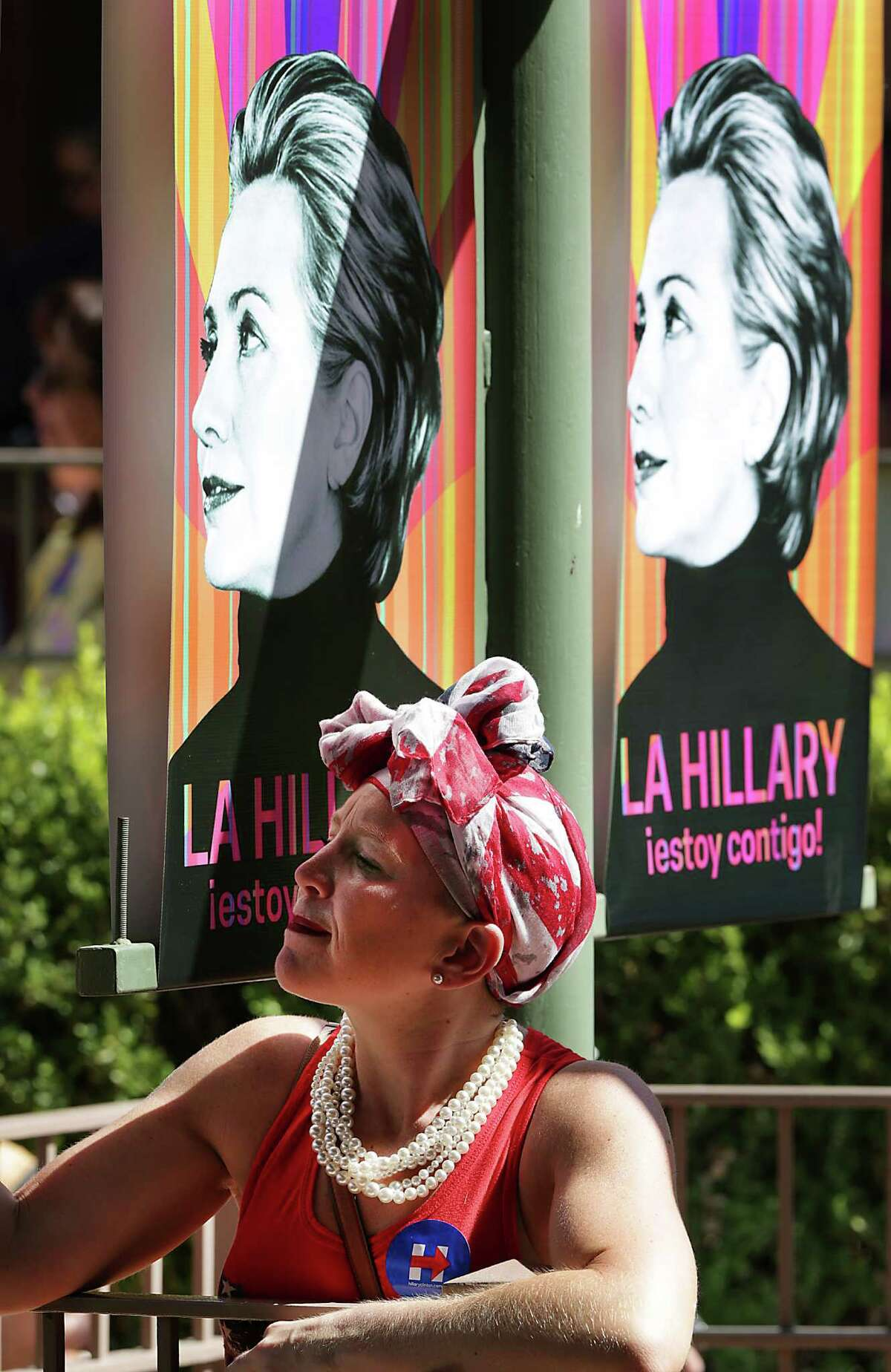 A supporter for Presidential candidate Hillary Clinton waits for the rally to begin on Thursday, Oct. 15, 2015 at Sunset Station in San Antonio.