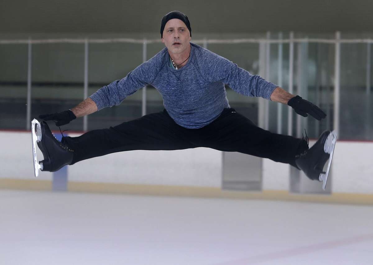 Figure skater Brian Boitano trains on the ice at the Yerba Buena skating center in San Francisco. The 1988 Olympic gold medalist performed on a plastic skating surface along with Dorothy Hamill during the halftime show of Super Bowl XXVI in 1992.