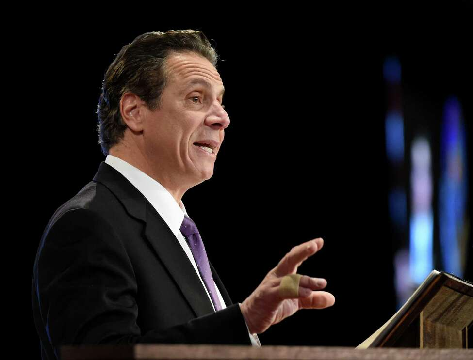 Gov. Andrew Cuomo presents his State of the State message at the Convention Center at the Empire Plaza Wednesday, Jan. 13, 2016, in Albany, N.Y. (Skip Dickstein/Times Union)