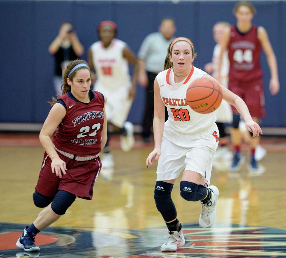 Brooks Bigott (left) and Seven Lakes will take on Cy Falls in the second round of the girls basketball playoffs Friday. Photo: Wilf Thorne, For The Chronicle / © 2016 Houston Chronicle