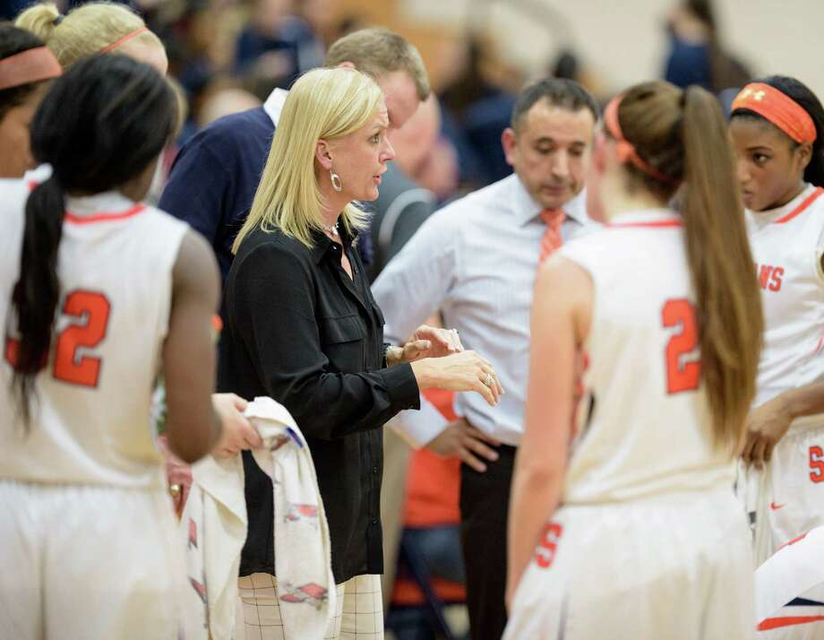 Seven Lakes coach Angela Spurlock and her players had to withstand an unconventional - and unpopular - tactic by Katy Taylor in a recent game. Photo: Wilf Thorne, For The Chronicle / © 2016 Houston Chronicle