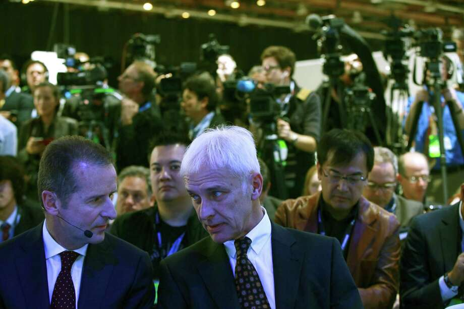 Volkswagen Chief Executive Matthias Mueller, center, during the unveiling of the company's Tiguan GTE Active concept at the North American International Auto Show in Detroit, Jan. 11, 2016. Regulators in California on Tuesday formally rejected Volkswagené¢â'TMs plan to fix its polluting diesel engines, underscoring their frustration with the German automakeré¢â'TMs ability to repair its defective vehicles. (Fabrizio Costantini/The New York Times) Photo: FABRIZIO COSTANTINI, STR / NYTNS