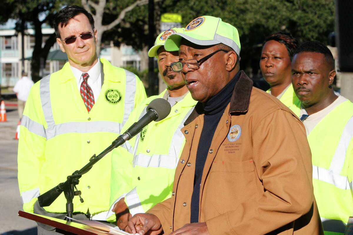 Mayor SylvesterTurner speaks about his pothole repair program at 9733 Neuens Road, Tuesday, Jan. 19, 2016, in Houston. The program also included the debut of a new website for tracking pothole repair progress, and a new customer service plan that includes electronic or phone outreach to each individual who reports a pothole.