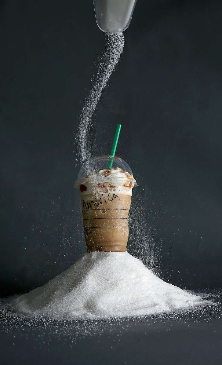 Looking at yearly consumption of sugar intake when having a Starbucks frappaccino once a week in San Francisco, California, on Tuesday,  January 19, 2016.