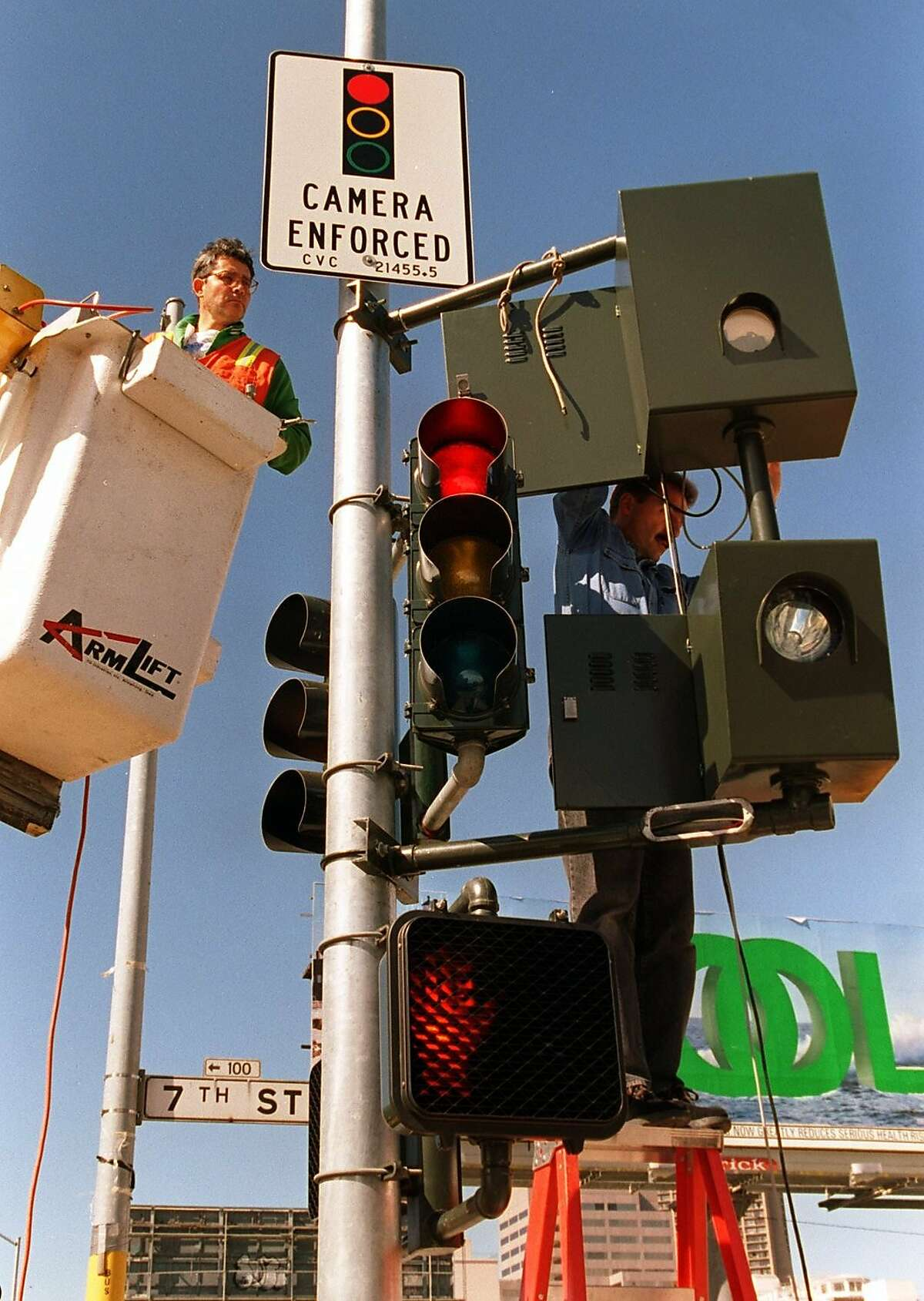 One of the first red-light ticketing cameras in San Francisco -- at Seventh and Mission streets;