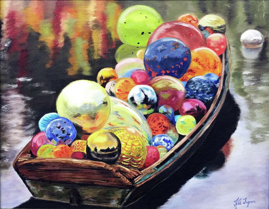 """""""Boat Load of Glass Balls,"""" by June Topar, of Fairfield, will be among the artworks in the """"Emerging Artists"""" exhibit in the Kershner Gallery of the Fairfield Public Library. Photo: Contributed Photo / Fairfield Citizen"""