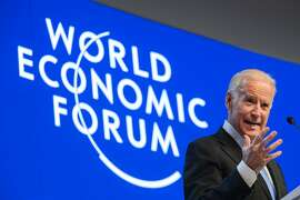 US Vice President Joe Biden delivers his speech during the World Economic Forum (WEF) annual meeting in Davos, on January 20, 2016. Rising risks to the global economy and a string of jihadist attacks around the world overshadowed the opening of an annual meeting of the rich and powerful in the snow-blanketed Swiss ski resort. Even as heads of state, billionaires and Hollywood megastar Leonardo DiCaprio were arriving, the International Monetary Fund (IMF) sounded the alarm about perils in the major emerging market economies and lowered its outlook for global economic growth this year. / AFP / FABRICE COFFRINIFABRICE COFFRINI/AFP/Getty Images