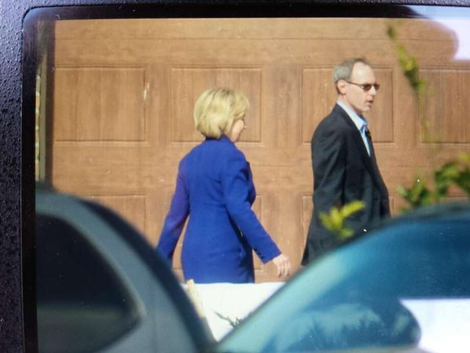 Democratic presidential frontrunner Hillary Clinton arrives at a Beaumont home on Wednesday for a fundraiser.  Guiseppe Barranco/The Enterprise