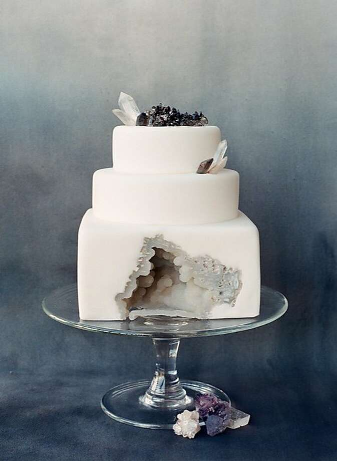 Sainte G, a Bay Area cake company, specializes in cakes with fondant frosting and unusual designs, from traditional looking wedding cakes to cakes that look like a stack of deli sandwiches. This cake contains an actual geode purchased at Paxton Gate and inserted into the cake, structured to avoid collapse. Founder Krista Juracek, a Nebraska native, co-founded the successful Sugarplum cake company in Paris in 2010 and moved to San Francisco in 2015. Photo: Corbin Gurkin