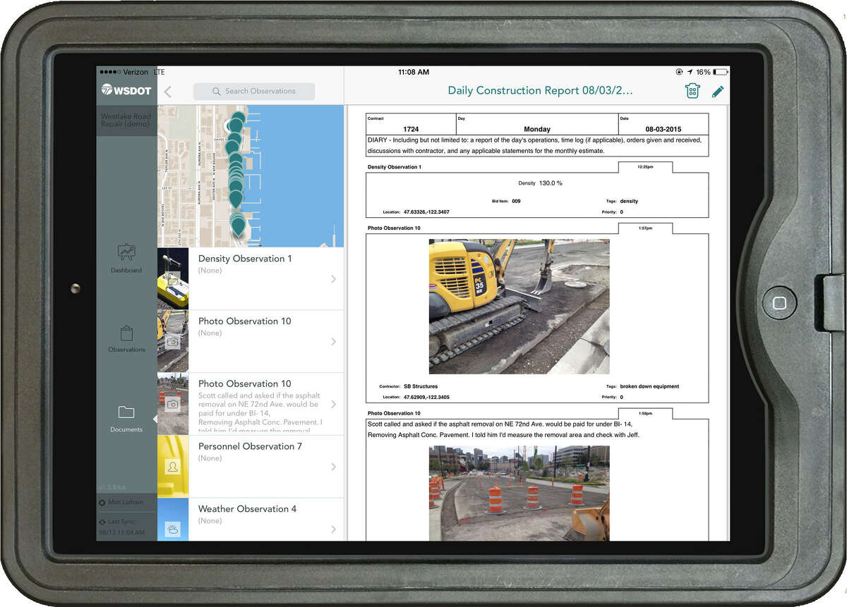 HeadLight allows a jobsite inspector to input information and snap photos uses a tablet computer. The photos are than saved as part of daily reports, including data about when and where the photo was taken and the weather conditions at the time.
