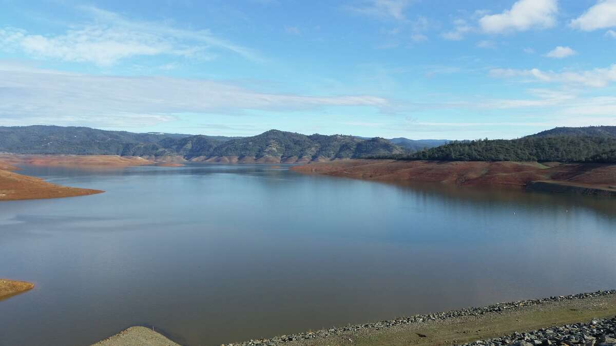 A view of Lake Oroville on Jan. 20, 2016. California's second-largest reservoir water level dropped to 640 feet on Dec. 9. With recent storms, its filling back up and is now at 694 feet.