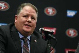 Chip Kelly is introduced as the new head coach of the San Francisco 49ers at a news conference at Levi's Stadium in Santa Clara, Calif. on Wednesday, Jan. 20, 2016.