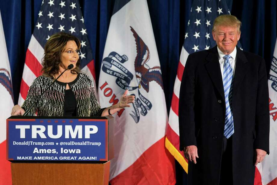 UNITED STATES - JANUARY 18 - Former Alaska Gov. Sarah Palin speaks as she endorses Republican presidential candidate Donald Trump at a campaign stop, Tuesday, Jan. 19, 2016, in Ames, Iowa. (Photo By Al Drago/CQ Roll Call) Photo: Congressional Quarterly, Getty Images / © 2016 CQ-Roll Call, Inc.