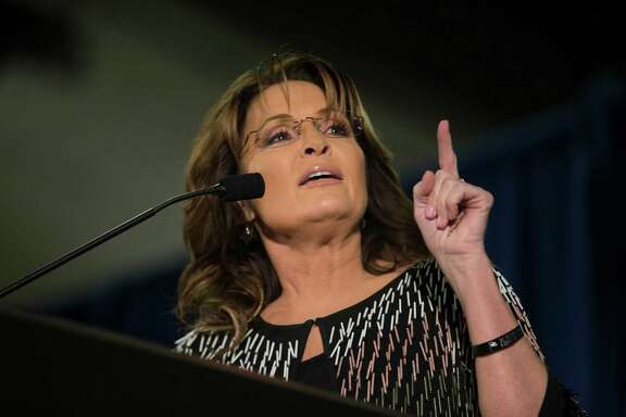 AMES, IA - JANUARY 19:   Former Alaska Gov. Sarah Palin speaks at Hansen Agriculture Student Learning Center at Iowa State University on January 19, 2016 in Ames, IA. Palin endorsed Donald Trump's run for the Republican presidential nomination.