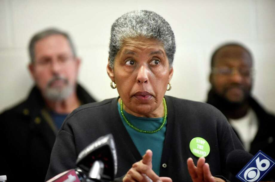 Community activist Barbara Smith, center, speaks during a news conference on Wednesday, Jan. 20, 2016, at Union Missionary Baptist Church in Albany, N.Y. Community Leaders, local organizations and parents called on the Albany City School District Board of Education to renew its contract with Superintendent Marguerite Vanden Wyngaard, which is set to expire in June. (Cindy Schultz / Times Union) Photo: Cindy Schultz / 10035070A