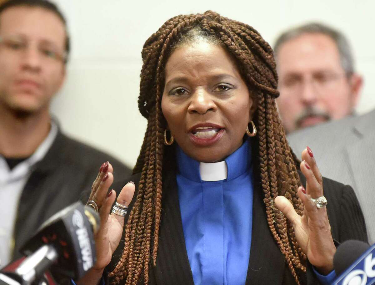 Rev. Valerie Faust of Living Word Tabernacle, center, shown here in a 2016 photo, is planning a third run for Albany mayor. (Cindy Schultz / Times Union)