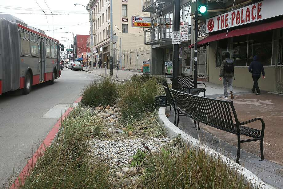 Even in the most urban areas, rain gardens can capture and filter stormwater. In San Francisco, rain gardens like this one on Cesar Chavez Street cut on the amount of storm water entering the combined sewer system by 53 percent. Photo: Liz Hafalia, San Francisco Chronicle