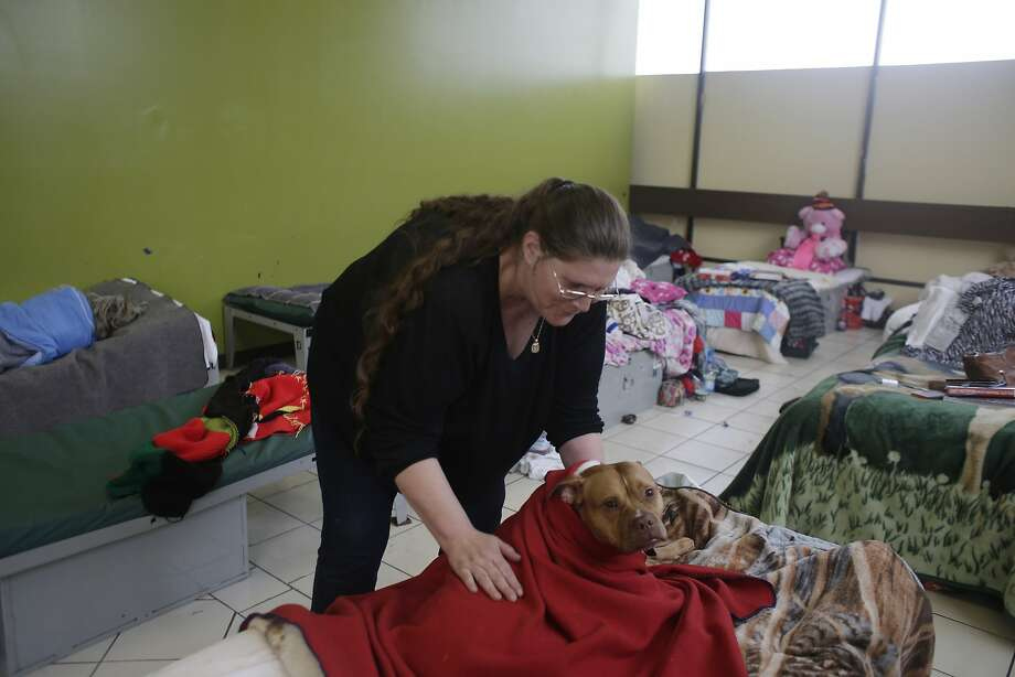 June Woolery, who is homeless, wraps a blanket around her dog at Episcopal Community Services' Next Door Shelter. Photo: Lea Suzuki, The Chronicle