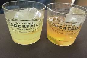 Jack Preston served two cocktails at his San Antonio Cocktail Conference seminar, a Southside, left, and a rum old-fashioned with lots of orange flavor.