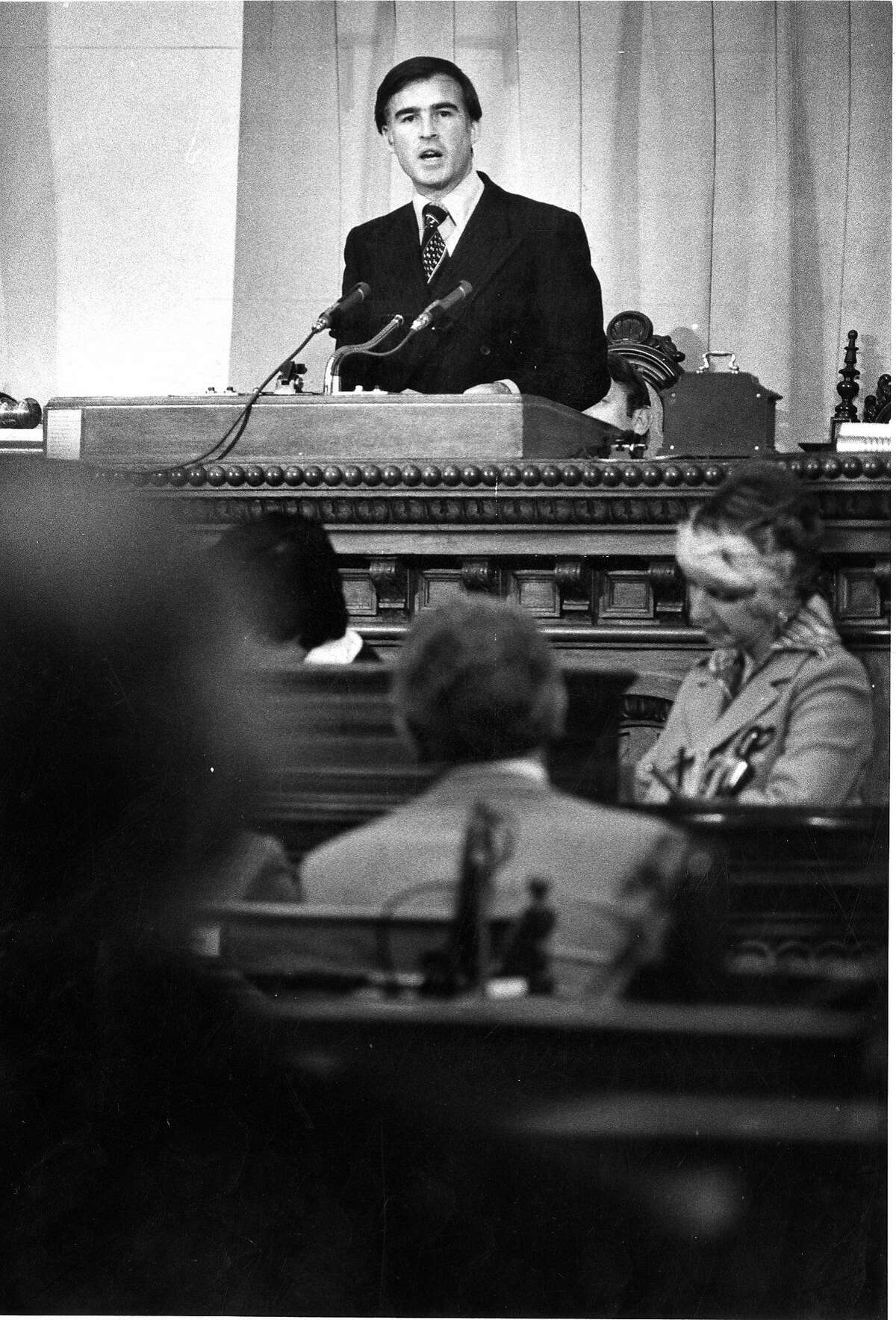 Gov. Jerry Brown delivers his State of the State speech in January 1976.