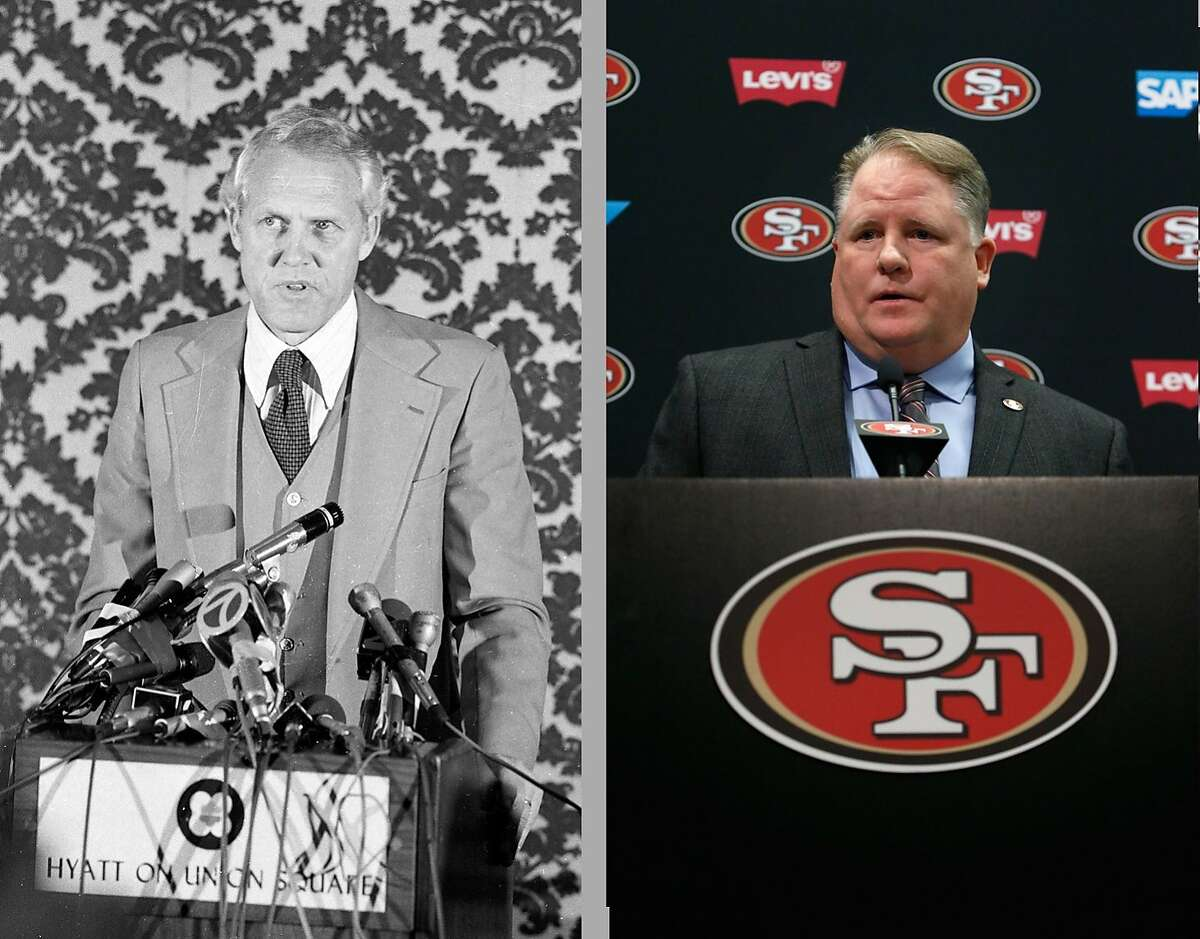 Bill Walsh (left, in 1979) and Chip Kelly (right, in 2016) speak to the San Francisco press, after announcements that they would take over as head coach for the 49ers in their respective eras.